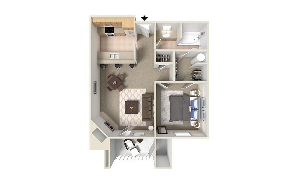 A1 - 1 bedroom floorplan layout with 1 bath and 600 square feet (1st floor 2D)