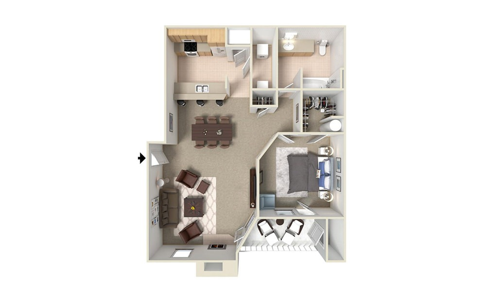 A3 - 1 bedroom floorplan layout with 1 bath and 695 square feet (1st floor 2D)