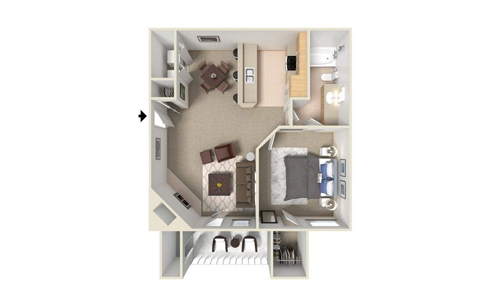 A4 - 1 bedroom floorplan layout with 1 bath and 780 square feet (1st floor 2D)