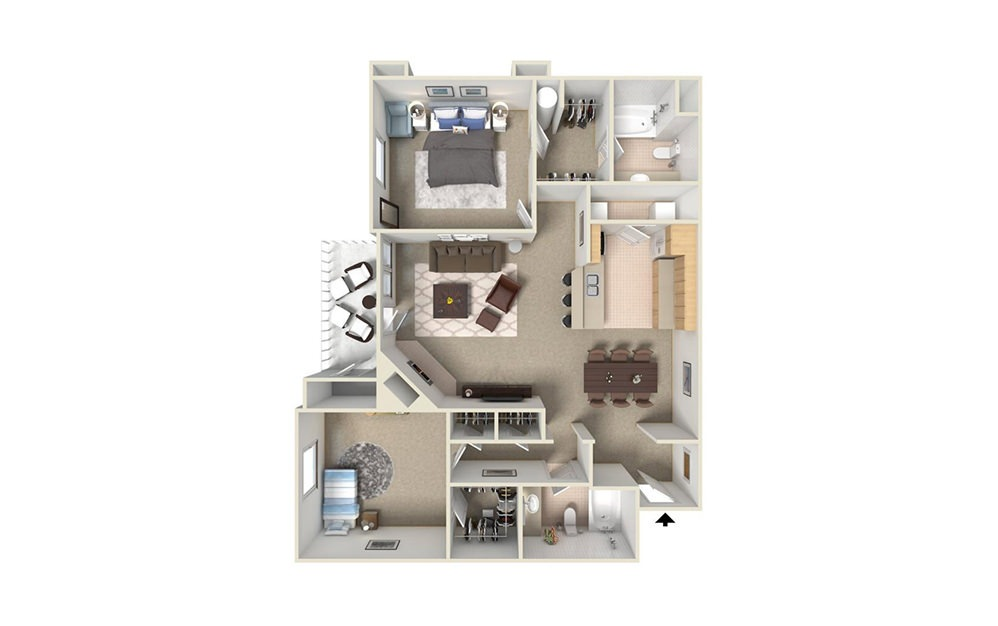 B3 - 2 bedroom floorplan layout with 2 bath and 1050 square feet (1st floor 2D)