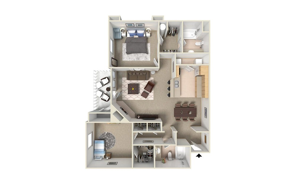 B4 - 2 bedroom floorplan layout with 2 bath and 1145 square feet (1st floor 2D)