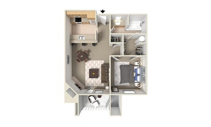 A1 - 1 bedroom floorplan layout with 1 bath and 600 square feet
