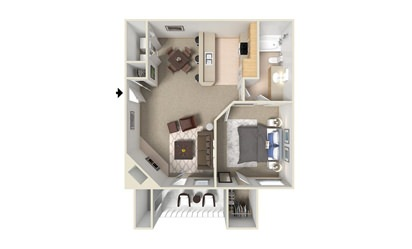 A2 - 1 bedroom floorplan layout with 1 bath and 660 square feet