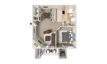 A4 - 1 bedroom floorplan layout with 1 bath and 780 square feet