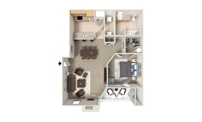 A6 - 1 bedroom floorplan layout with 1 bath and 870 square feet