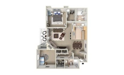 B1 - 2 bedroom floorplan layout with 2 bath and 1015 square feet